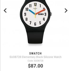 Swatch Elementary Silicone Strap Black Watch